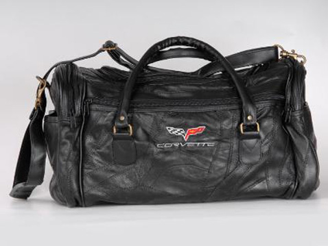 Corvette C6 Black Lambskin Leather Road Trip Bag New